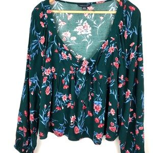 Green Floral Front Tie Blouse NWOT